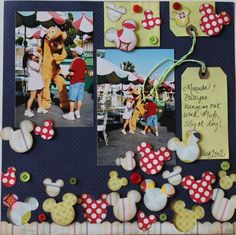 DISNEY SCRAPBOOK - layout with lots of Mickey heads