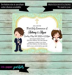 First Communion Boy Party Return Address Labels Personalized Custom ~ We Print and Mail to You