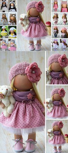 Textile Doll Poupée Nursery Rag Doll Winter Christmas Doll Art