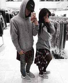 "Streetwear Fashion Couple. Hit ""Visit"" to know more about us! Instagram: @edriancortes / / / / / #men #women #streetwear #streetstyle #couple #couplegoals #grey #hoodies #fashion #style #blvck #vans #nike"