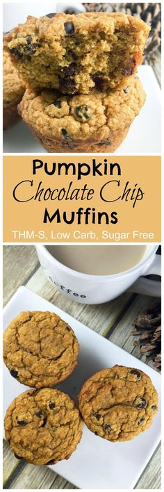 Pumpkin Chocolate Chip Muffins - a perfect blend of pumpkin and chocolate. This recipe is low carb, sugar free, and a Trim Healthy Mama S Fuel. Low Carb Sweets, Low Carb Desserts, Healthy Desserts, Healthy Recipes, Atkins Desserts, Ketogenic Desserts, Paleo Sweets, Diabetic Desserts, Fall Desserts