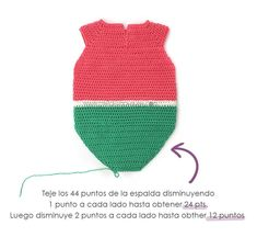 Learn How to Make This Watermelon Crochet Romper for Baby. FREE Step by Step Tutorial & Pattern. Just imagine your baby in this Romper, isn't he/she cute? Crochet Round, Half Double Crochet, Single Crochet, Crochet Onesie, Crochet Baby Clothes, Romper Pattern, Crochet Crafts, Baby Knitting, Free Pattern