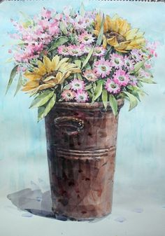 Watercolor And Ink, Watercolour Painting, Watercolor Flowers, Painting & Drawing, Decoupage, Color Pencil Art, Pixel Art, Art Lessons, Art Drawings