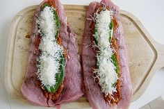 Pork fillets stuffed with cannella Parma ham chef - Gesunde Rezepte - Meat Recipes Spinach Recipes, Ham Recipes, Pork Chop Recipes, Veggie Recipes, Healthy Recipes, Healthy Eating Tips, Healthy Nutrition, Pork Fillet, Smoked Beef Brisket