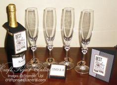 New Years Eve Party Set! www.craftprojectcentral.com Start the New Year off right with this fun and festive set! It includes a bottle tag, matching card, set of four champagne glass charms and a box to put them in. It's just what you need to ring in the New Year!