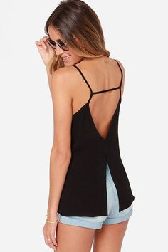 Every girl has got to love black camisole for a casual outfit! It features a deep V neckline, sleeveless, open back, back slit. Throw on your favorite shorts for a classic daytime or nighttime look!