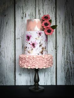 Hand painted, textural wedding cake with pink sugar flowers ~ we ❤ this! moncheribridals.com