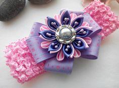 Venda de la muchacha del bebé / banda para la cabeza de la flor / accesorio del pelo de chica de bebé / flores de tela Kanzashi / morado diadema diadema/Kanzashi