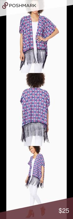 New An eclectic topper for dresses,jeans and tank Bask in summer style with this damask printed, fringe kimono. An eclectic topper for dresses, or jeans and a tank. Different sizes avail . Fits small medium and large . Tops Blouses