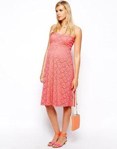 ASOS Maternity | ASOS Maternity Bandeau Midi Dress In Lace at ASOS