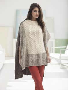 "Knit the cozy Puget Sound Poncho with 5 balls of Fisherman's Wool in soothing neutral colorways! Shown in Maple Tweed, Natural, and Oak Tweed, made on Circular Knitting Needles Size 7 (4.5 mm) 24""."