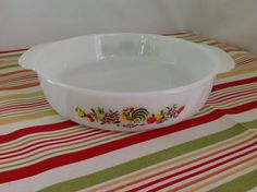 Vintage Fire King Chanticleer Rooster Round Milkglass Cake Pan by LakesideVintageShop on Etsy