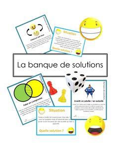 L'outil « La Banque de solutions » est imagé et ludique, ce qui rend l'apprentissage des compétences sociales avancées plus stimulant. Il met une base importante dans la compréhension de l'univers complexe des relations sociales. Il développe de meilleurs comportements en groupe, vise des stratégies sociales et augmente l'empathie. Il cible une variété de comportements adaptatifs pour faire face à la vie de tous les jours. Diy Game, Chacun Son Tour, Classroom Environment, Fun Math, Reggio, Design Thinking, Kids Education, Communication, Psychology