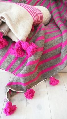 Image of Moroccan POM POM Wool Blanket -  Pink and Grey Stripes