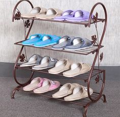 149.00$  Buy here - http://alihav.worldwells.pw/go.php?t=32732065195 - Four Layer Iron Shoe Rack Living Room Storage Shelf Retro Storage Holder