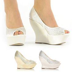 New Fashion Platform Wedges Bridal Wedding Party Prom Diamante Shoes Size 3 8 | eBay, $35