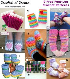 Nine free leg-feet patterns http://crochetncreate.com/nine-free-feet-leg/ #crochetncreate #crochet #freecrochetpatterns
