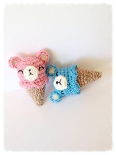 Cochet Ice Cream Cone Bear Pin/Brooch Kawaii Bear Ice by MossyMaze