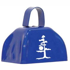 Logo printed blue cowbell by OneWayPromos. Add a logo to our cowbells to make a loud promotional products.