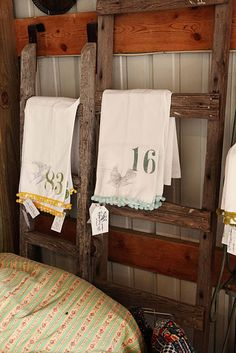 cute numbered dish towells with graphic ball trim by Jennifer Rizzo Old Ladder, Rustic Ladder, Ladder Decor, Bamboo Ladders, Shabby Chic Boutique, Rustic Bathrooms, Home Comforts, Linens And Lace, Tea Towels