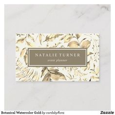 Shop Botanical Watercolor Gold Business Card created by cardsbyflora. Watercolor Business Cards, Gold Business Card, Floral Watercolor, Frame, Design, Picture Frame, A Frame, Frames, Design Comics