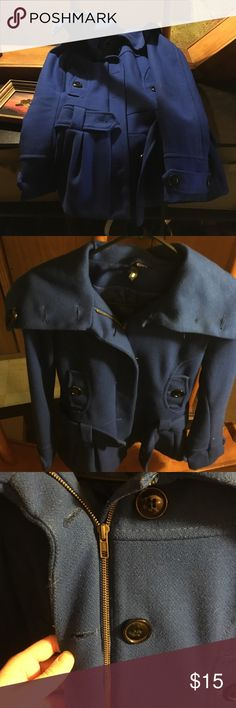 Blue H and M coat Royal blue winter coat from h and m zipper and buttons lightly worn H&M Jackets & Coats Pea Coats