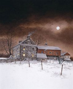 Art Print: Oley White Art Print by Ray Hendershot by Ray Hendershot : Nocturne, Stretched Canvas Prints, Framed Art Prints, Watercolor Artwork, Watercolor Paper, Winter Scenery, Painting Edges, Moon Art, White Art