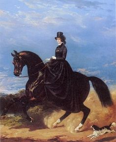 Elegant Lady Riding Her Horse Sidesaddle with King Charles Spaniel Along Side (artist?)