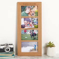 A quality and contemporary solid oak personalised multi photo frame that can be positioned and personalised in a portrait or landscape orientation.PERSONALISATION: You can add an engravings like in our photographs or your own unique message special to you and your loved ones. ORIENTATION: The frames can be personalised in portrait or landscape across the top of the frame.This solid oak personalised multi photo frame is designed to be wall mounted or sits nicely on a shelf or sideboard…