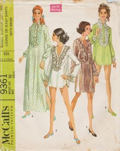 McCalls 9361   Vintage 1960s Sewing Pattern   Lingerie Nightshirt Sleep  Shirt Nightgown Gown   Size 10   Unused d7a1fadad