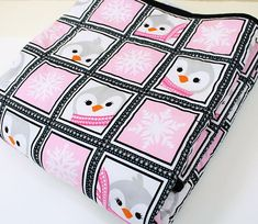 Pink and Gray Baby Penguins Quilt Tummy Time Baby Girl Quilt