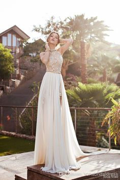 High Split Removable Chiffon Skirt 2014 Lace Beach A-Line Wedding Dresses | Buy Wholesale On Line Direct from China