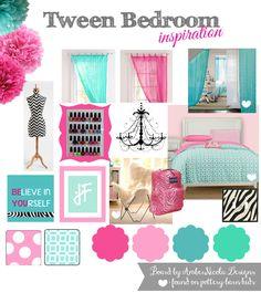 Tween bedroom inspiration in pink, blue, aqua, teal and a splash of black zebra. In the future...