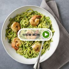 Avocado makes the pesto sauce in this healthy zoodle recipe extra creamy. Topped with zesty shrimp, this easy dinner recipe comes together in a flash.