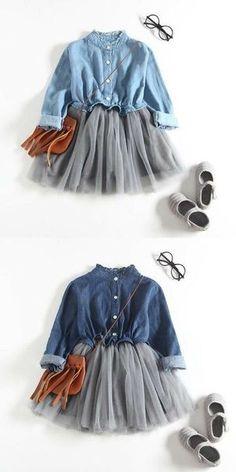 Denim Shirt for Toddler Girl Outfit Toddler Girl Style, Toddler Girl Outfits, Little Girl Dresses, Toddler Dress, Toddler Fashion, Baby Style, Toddler Girl Clothing, Kids Clothing, Fashion Kids