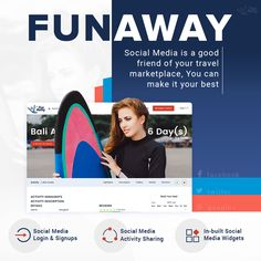 FunAway's comprehensive #socialmedia integration helps your leverage the full power of social media. From social login to activity sharing, your marketplace stays linked with different social networks at every level. http://demo.fun-away.com/ #OnlineTravelActivityMarketplace #TravelActivityBookingMarketplace #TravelWebsiteBuilder