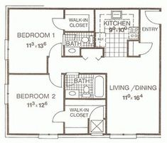 Small Two Bedroom House Plans | Two Bedroom Apartment Floor Plans Small 2  Bedroom .