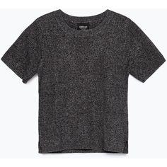 Zara Short Sleeve Sweater ($30) ❤ liked on Polyvore featuring tops, sweaters, t shirts, zara, dark grey marl, dark grey sweater, marled sweater, zara sweaters, short sleeve tops and zara top
