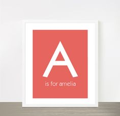 Letter A for Amelia Coral peach baby girl name nursery print poster Monogram print on Etsy, $16.00