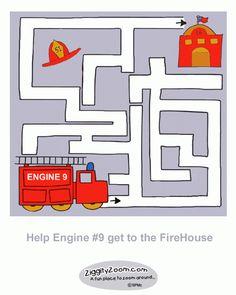 Printable Fire Engine Maze   Ziggity Zoom  KIDS ACTIVITY STATION