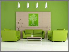 Looks cool, light, and spacious, green and white creates a serenity for minimalist modern home living room interior design. Read more on: http://edupaint.com/interior/ruang-keluarga/9992-biru-dan-hijau-pas-di-ruang-keluarga-minimalis.html #HiyotoIdea #homedesign #homedecor #housedesign #housedecor #interiordesign #livingroom #colorcombination