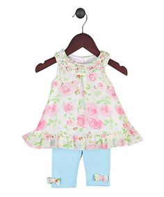 Loving this Joe-Ella Pink Floral Ruffle Dress & Blue Leggings - Infant on #zulily! #zulilyfinds