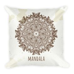 Hand Drawn Mandala Brown Pillowcase w/ stuffing