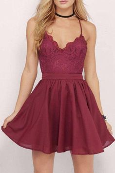 Burgundy Spaghetti Straps Chiffon Short Homecoming Dress with Lace Top,Mini Grad Dress,N330
