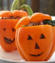 You won't have to trick your kids into eating these adorable and healthy treats. Carving faces for these Jack o' Lantern Stuffed Peppers doesn't take any extra time, and it's fun! Get this Phase 2 recipe from our newsletter.