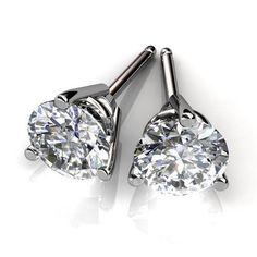 b58004417 1 Ct 14k White Gold Martini Setting Certified Diamond Stud Earrings, H-I,  SI1 at