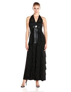 Betsy & Adam Halter Gown with Waist Embellishment in Black - http://www.womansindex.com/betsy-adam-halter-gown-with-waist-embellishment-in-black/
