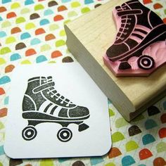 """Perfect for the Roller Derby lovers!! This hand carved roller skate stamp has got lots of fun detail and looks fantastic stamped up in any colour.The stamped image measures approx. 3.4cm x 3.4cm (1 3/8"""" x 1 3/8"""")."""