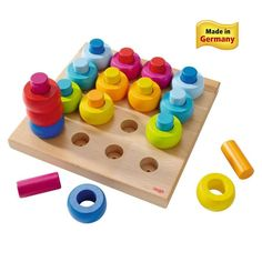 HABA Rainbow Whirls Pegging Game - interchangeable pieces challenge you toddler to stack, configure and construct. Made in Germany. Haba Fantasy Blocks are child-safe, non-toxic. Wooden Toys For Toddlers, Games For Toddlers, Kids Toys, Children Play, Toddler Preschool, Toddler Toys, Baby Toys, Learning Toys, Early Learning