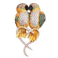 Sapphires Diamonds Gold Caique Parrots Brooch